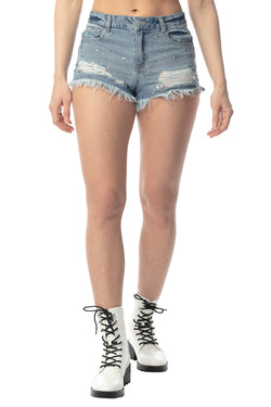 Juniors Mid-Rise Star Studded Denim Short - Almost Famous Clothing