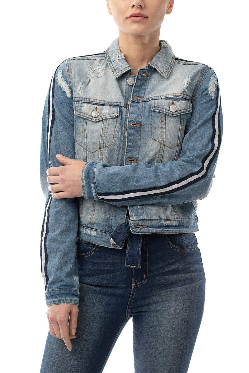 Most Wanted Striped Sleeve Women's Juniors Denim Jacket - Almost Famous Clothing