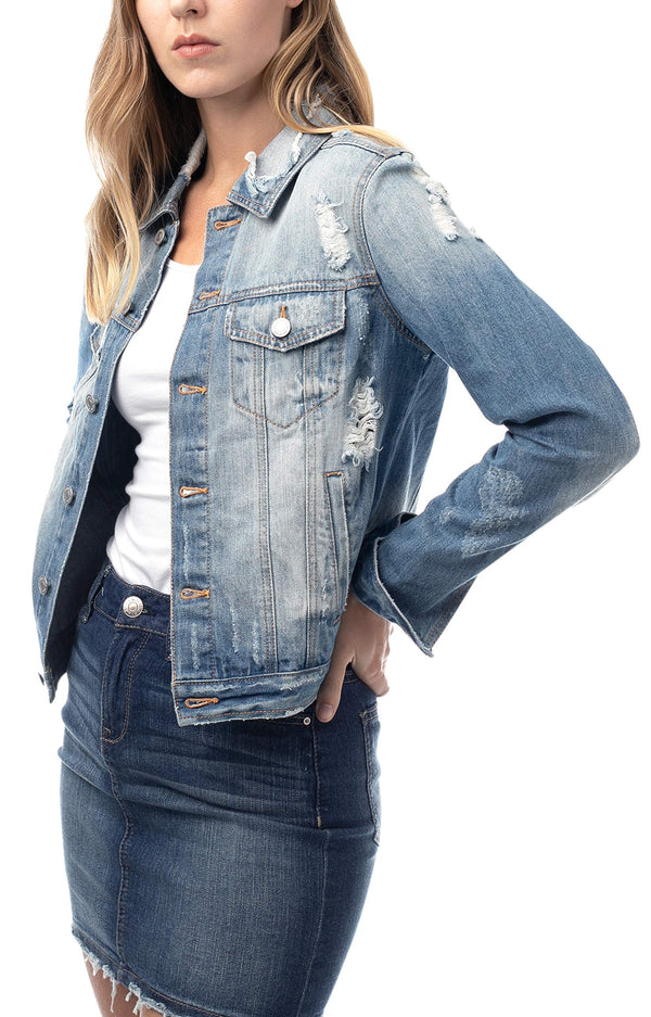 Women's Juniors Denim Destructed Trucker Jacket - Almost Famous Clothing