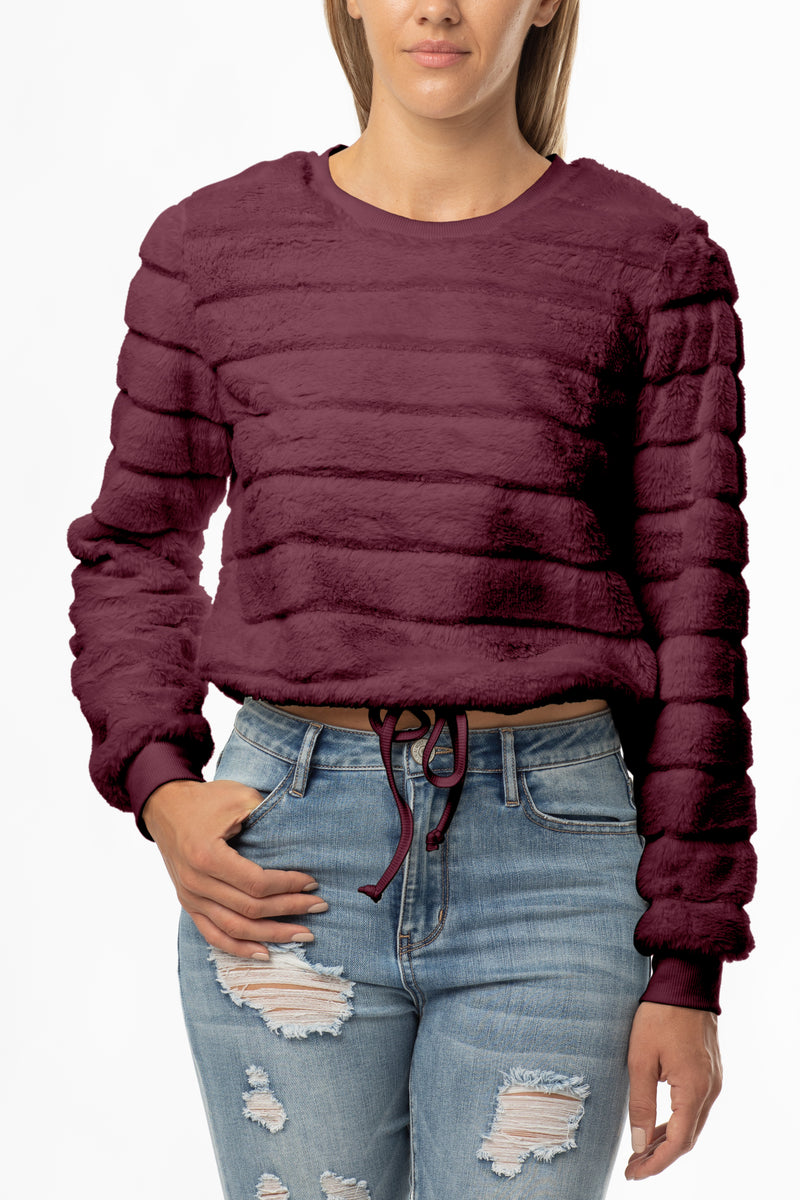 FUZZY FUR CREW NECK DRAWSTRING WAIST PULLOVER - Almost Famous Clothing