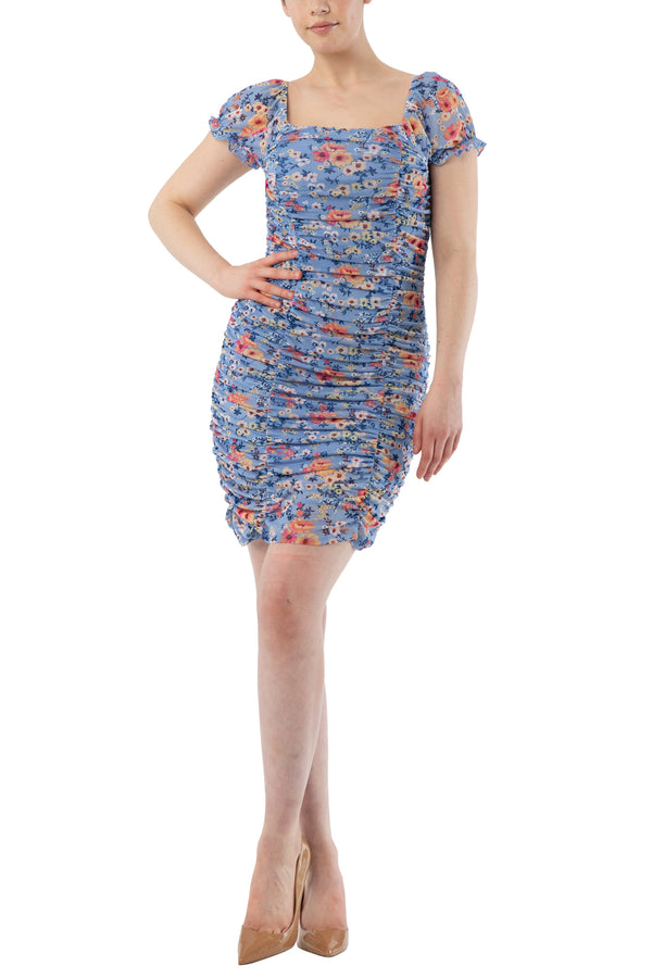Blue color Junior rouched bodycon mini floral stretch mesh lined dress with short sleeve and square neck - Almost Famous Clothing