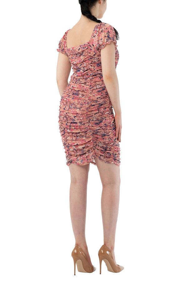 Pink color back side Junior rouched bodycon mini floral stretch mesh lined dress with short sleeve and square neck - Almost Famous Clothing