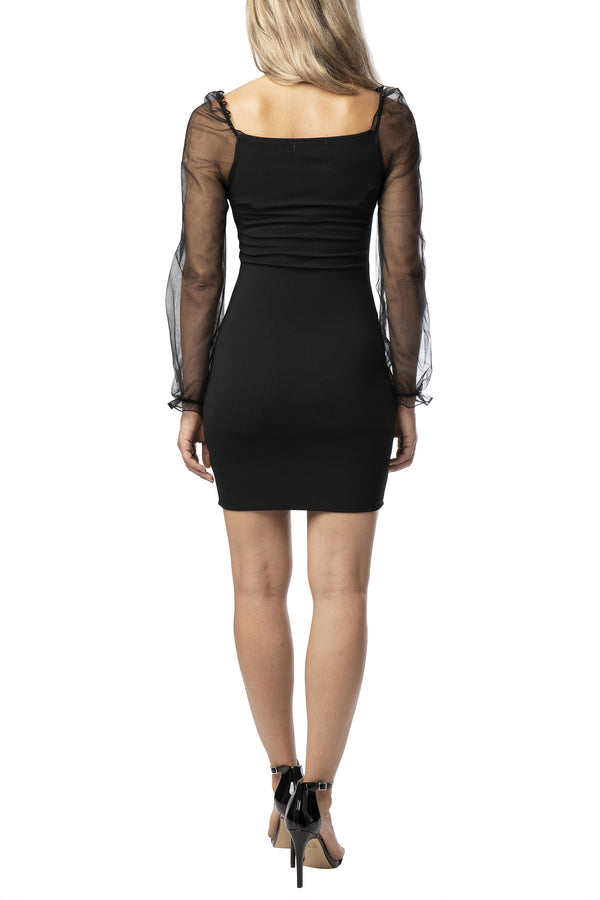 BACK SIDE OF BODY-CON DRESS WITH SHEER MESH PUFF SLEEVE - Almost Famous Clothing