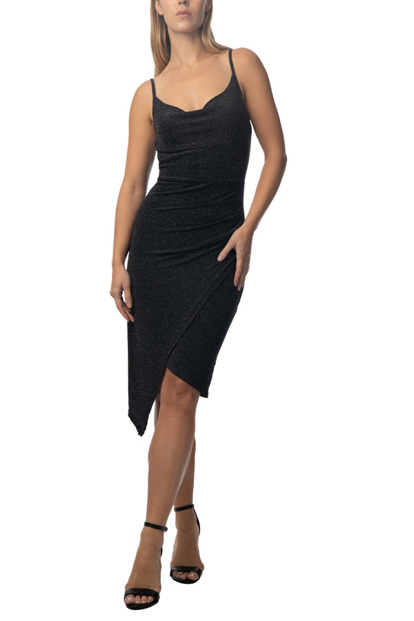 Women's Junior Cowl Neck Body Con Asymetric Hem Dress - Almost Famous Clothing