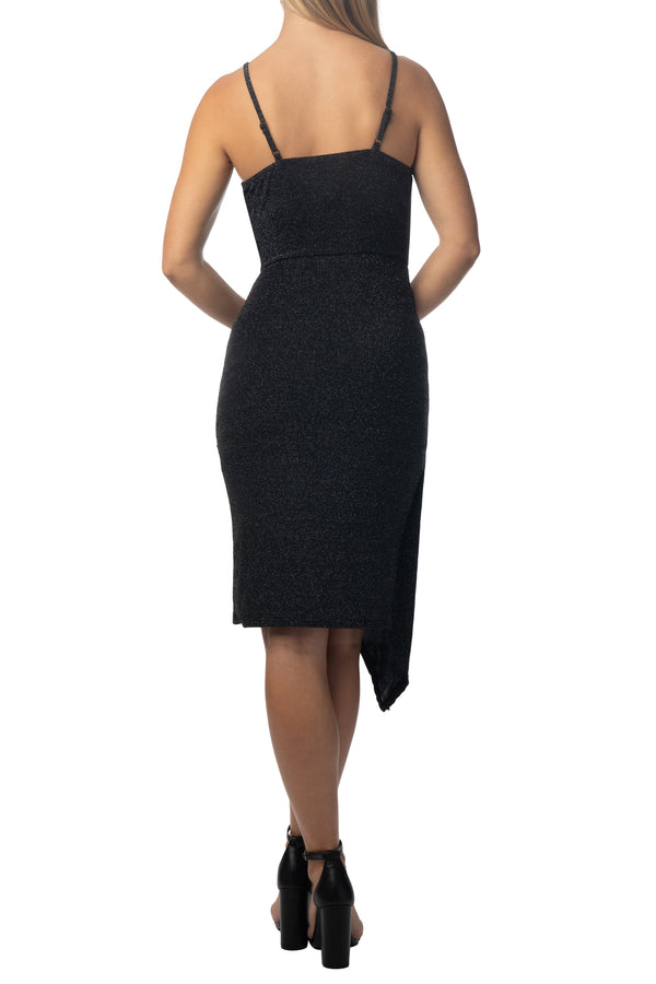 Back side of Women's Junior Cowl Neck Body Con Asymetric Hem Dress - Almost Famous Clothing
