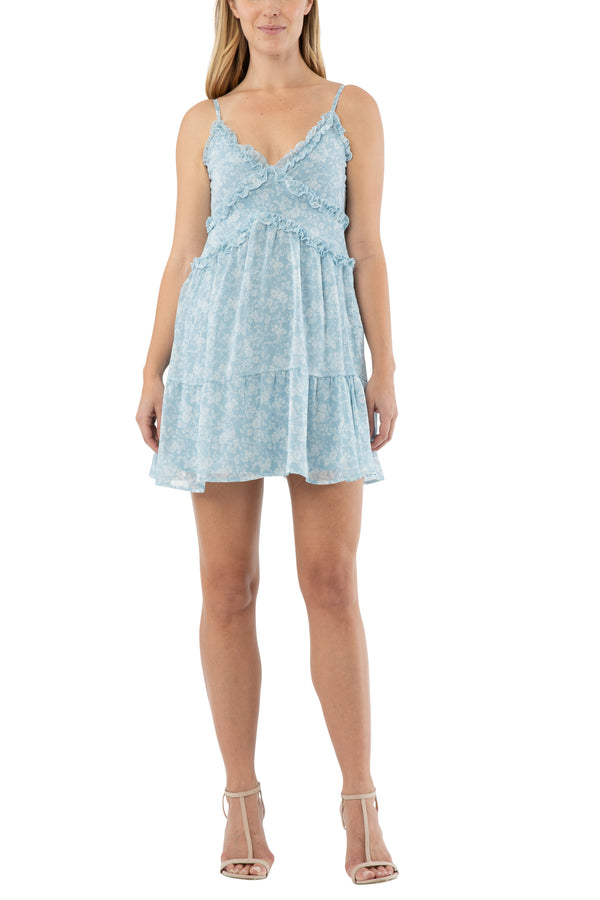 Junior dress with ruffle cami tiered skirt (lined) - Almost Famous Clothing