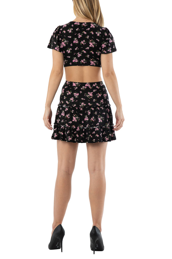 Junior 2 pc set black medium floral flutter sleeve center front roached top with skirt - Almost Famous Clothing