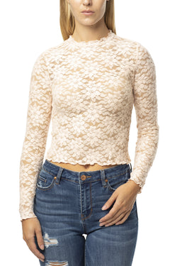 COZY BRUSHED LACE CROP TOP - Almost Famous Clothing