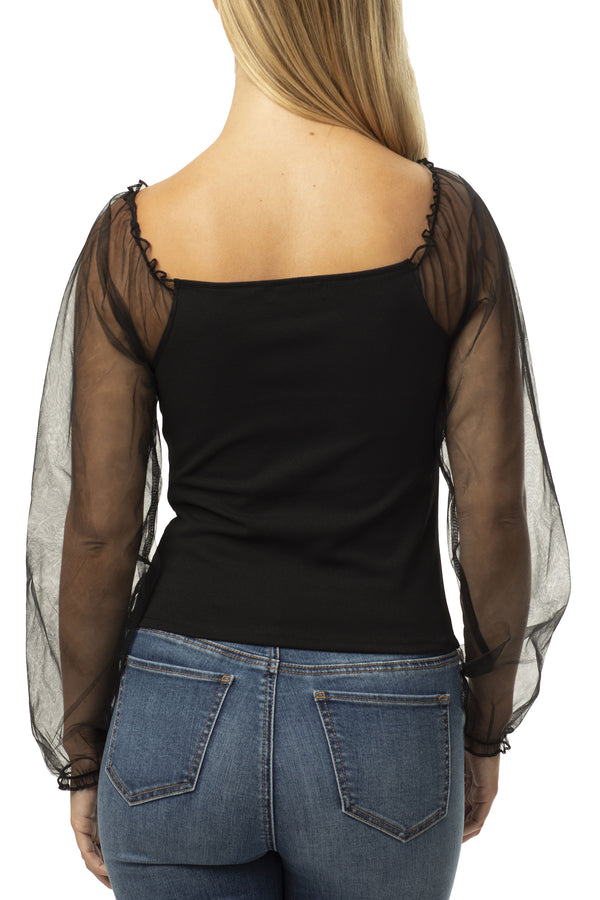 SHEER PUFF SLEEVE SEXY KNIT TOP - Almost Famous Clothing