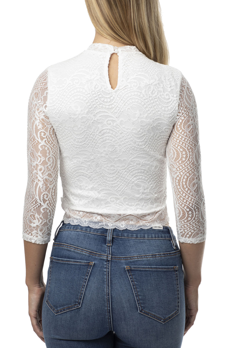 STRETCH  LACE CROP TOP WITH FRENCH LACE TRIM - Almost Famous Clothing
