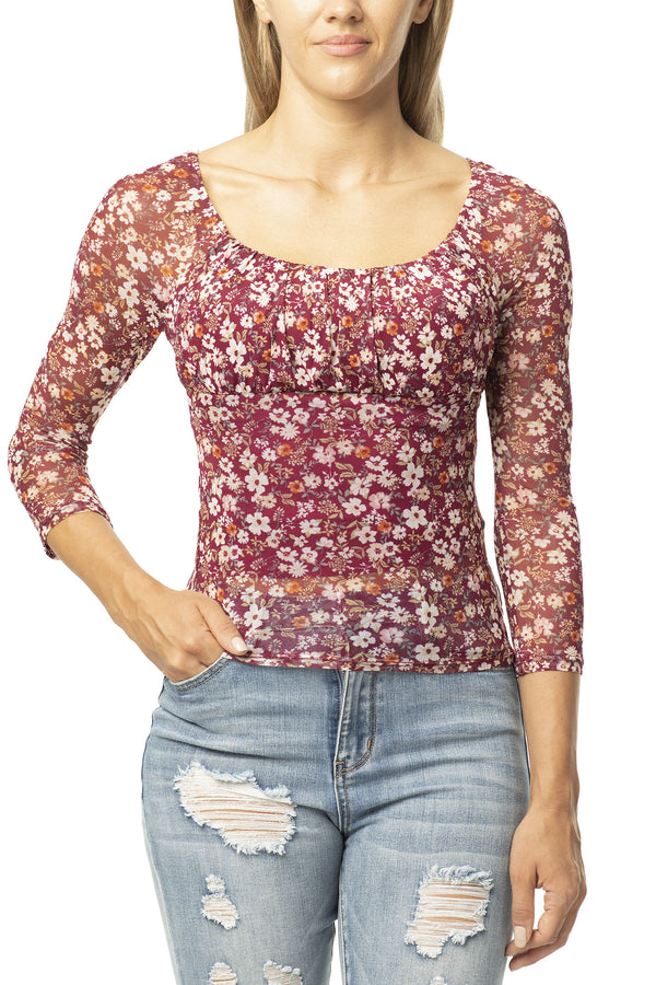 BERRY COLOR EMMA STYLE FLORAL POWER MESH TOP - Almost Famous Clothing