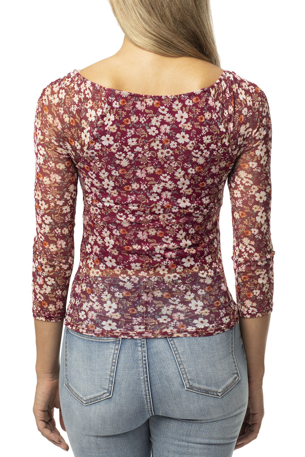 BERRY COLOR BACK SIDE OF EMMA STYLE FLORAL POWER MESH TOP - Almost Famous Clothing