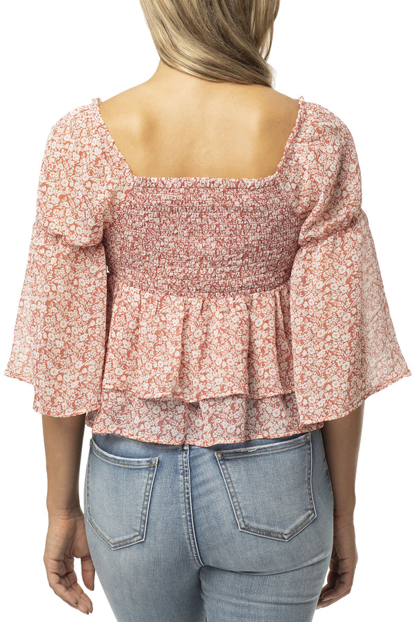 DOUBLE RUFFLED SMOCKED BABYDOLL PEASANT TOP - Almost Famous Clothing