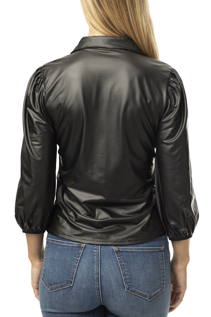 FAUX PU LEATHER SHIRT WITH PUFF SLEEVES