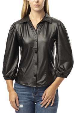 FAUX PU LEATHER SHIRT WITH PUFF SLEEVES - Almost Famous Clothing