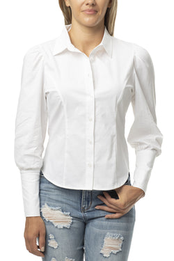 Stretch White Button Up Shirt with Puff Sleeve