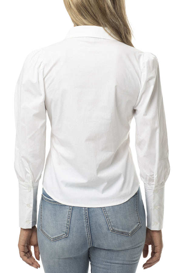 Stretch White Button Up Shirt with Puff Sleeve - Almost Famous Clothing