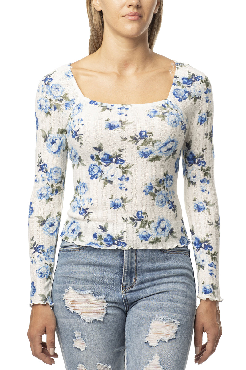 BRUSHED PRINT KNIT SQUARE NECK TOP - Almost Famous Clothing
