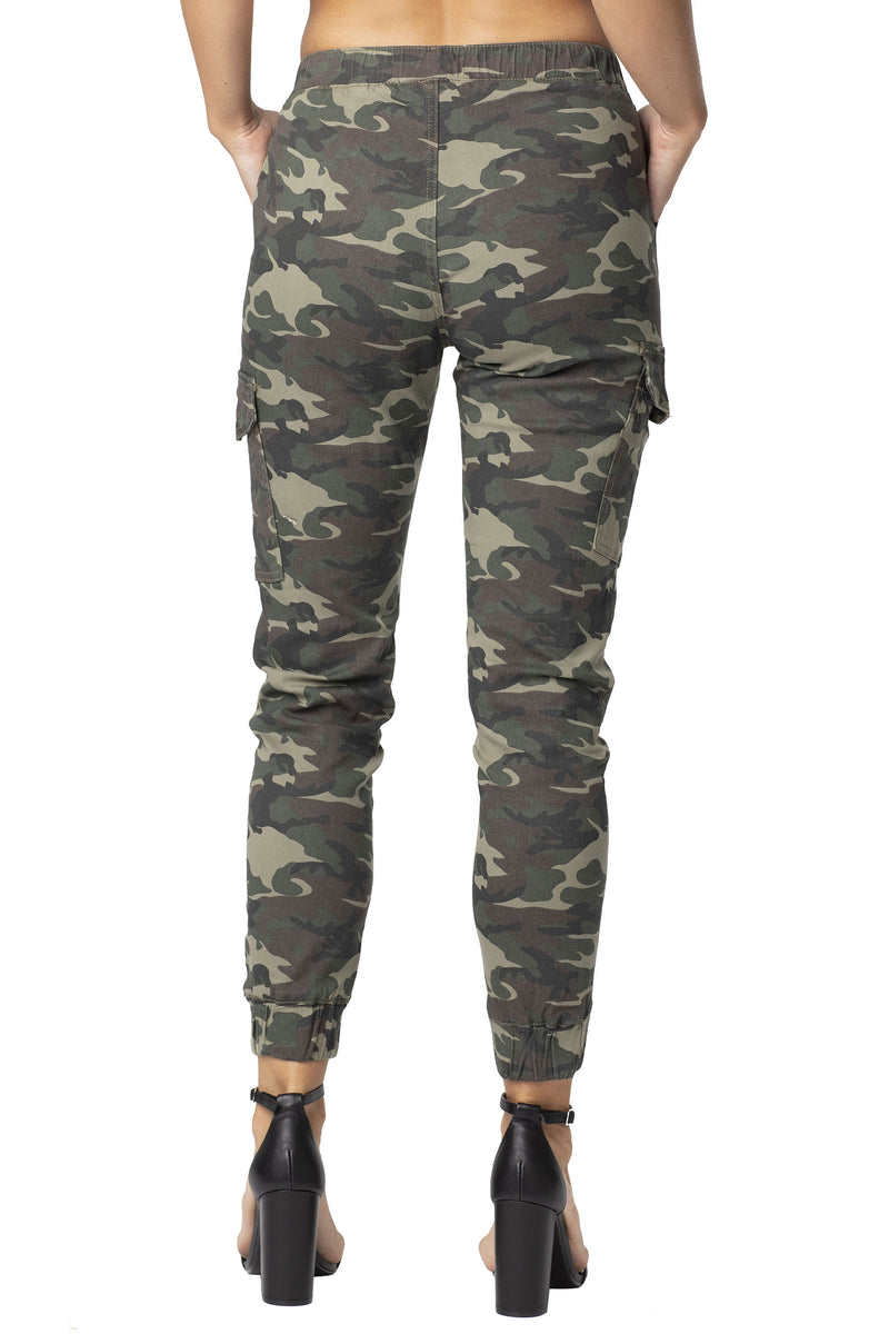 BACK SIDE OF CAMO PRINT TWILL PULL-ON JOGGER - Almost Famous Clothing