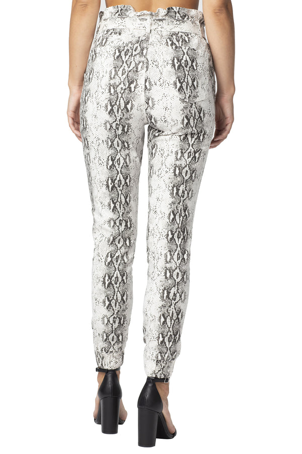 Snake Printed Denim Belted Jogger Pant - Almost Famous Clothing