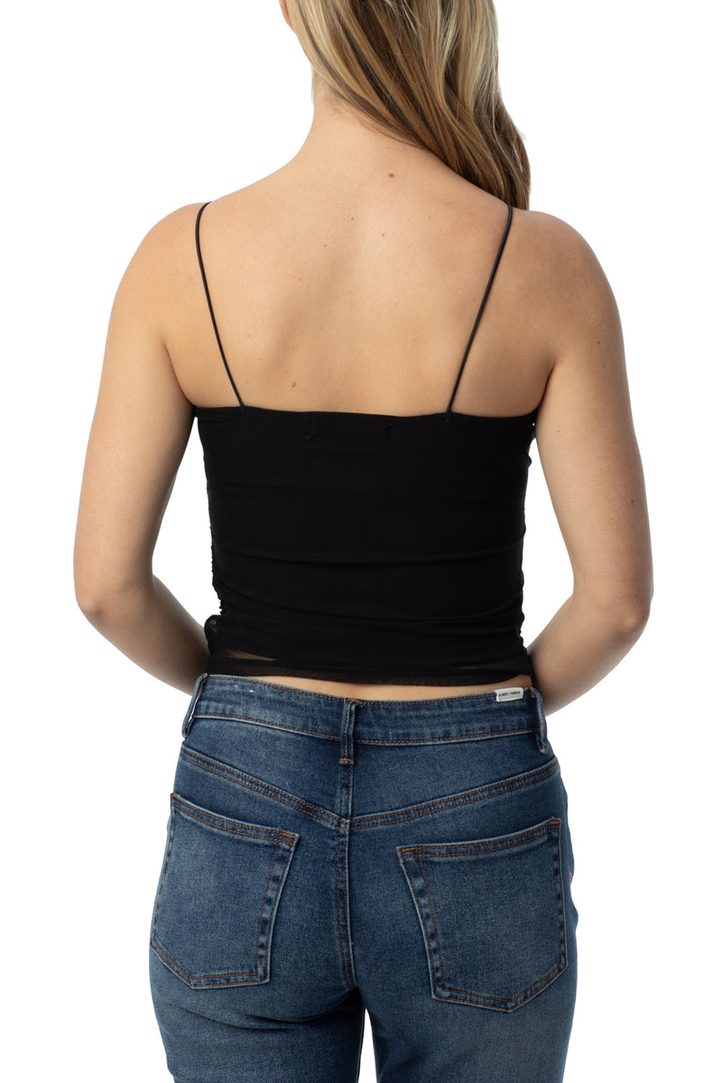 Black color back side of Rouched power mesh cami with elastic bungee straps - Almost Famous Clothing