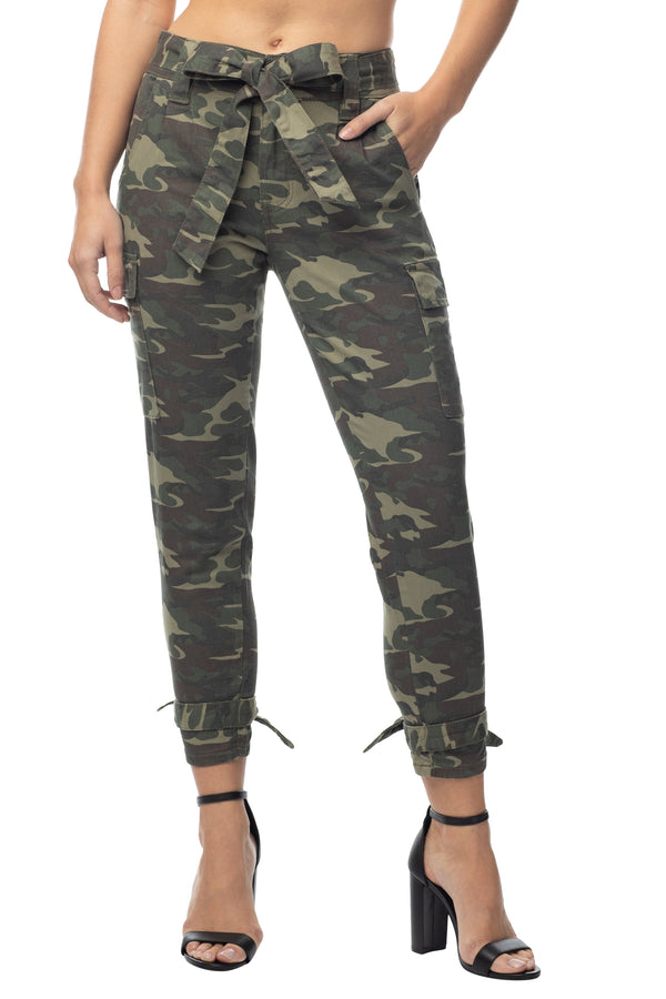 Juniors camo print high waisted skinny fit joggers With self tie belt and ankle - Almost Famous Clothing