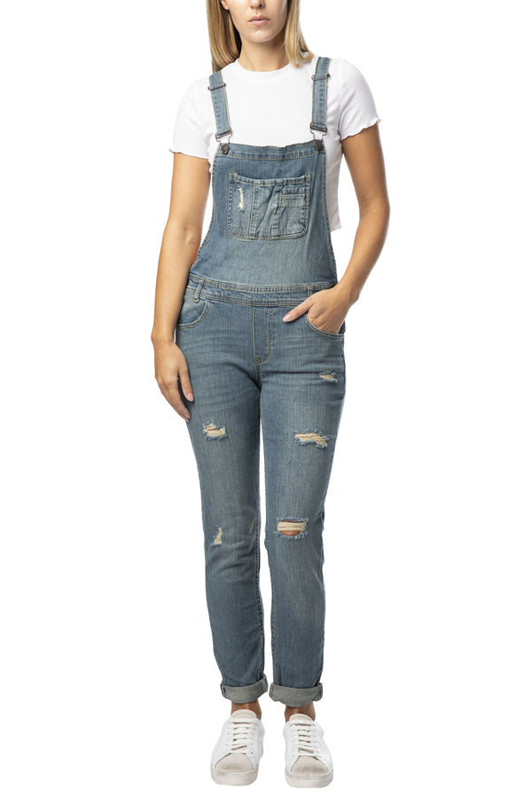 DESTRUCTED ROLL CUFF STRETCH DENIM OVERALL