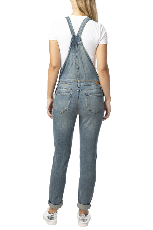 DESTRUCTED ROLL CUFF STRETCH DENIM OVERALL - Almost Famous Clothing