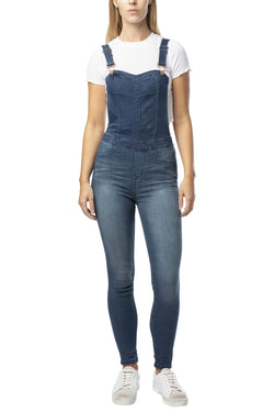 """SKINNY FIT"" SEXY STRETCH DENIM OVERALL-SWEETHEART BIB - Almost Famous Clothing"