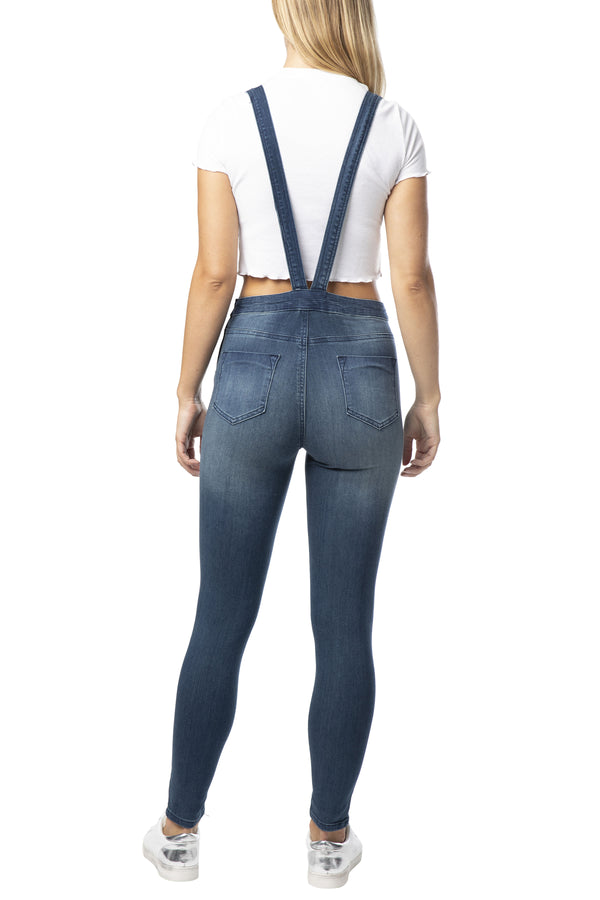 "BACK SIDE OF ""SKINNY FIT"" SEXY STRETCH DENIM OVERALL-SWEETHEART BIB - Almost Famous Clothing"