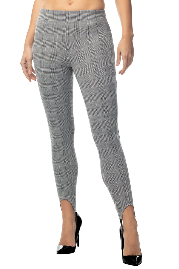 Juniors Legging Pant Stirrup High Waisted Plaid With Stitch Crease - Almost Famous Clothing