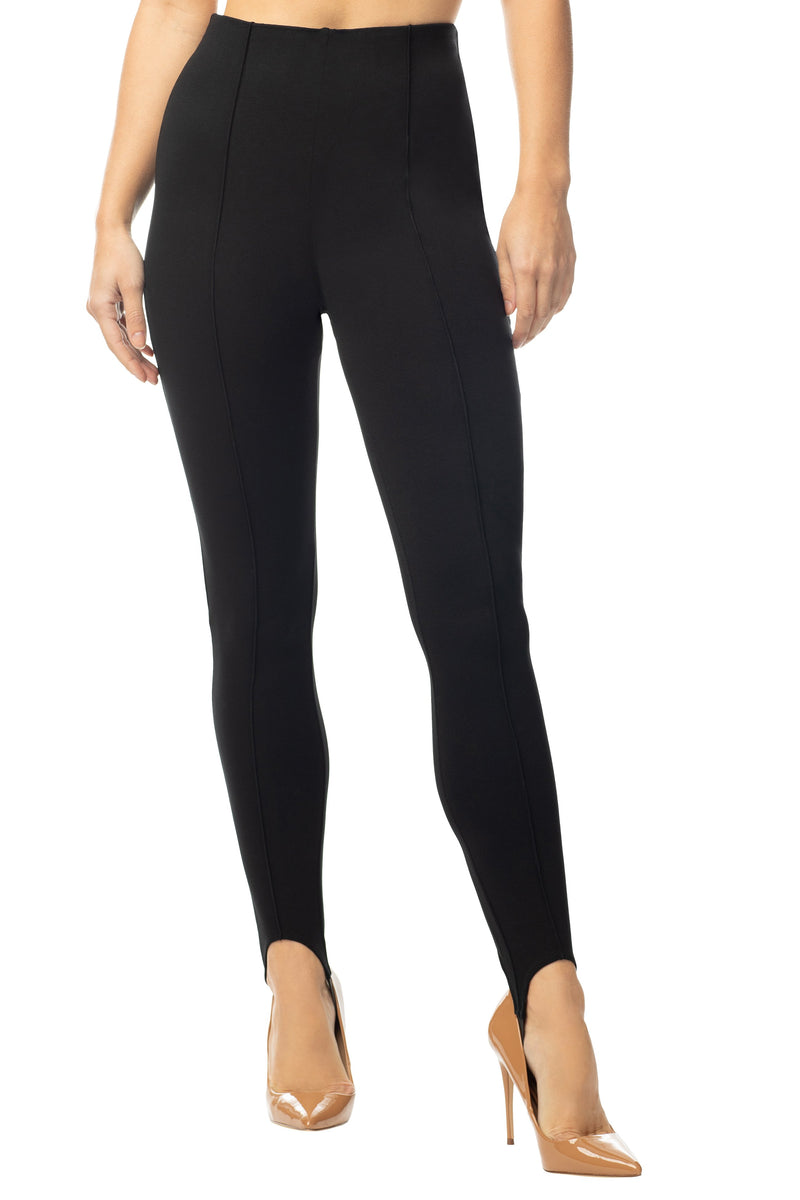 Junior Legging Pant Stirrup High Waisted Knit Ponte With Stitch Crease - Almost Famous Clothing