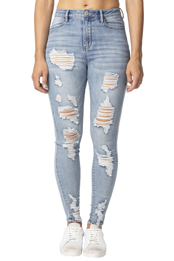 DESTRUCTED ANKLE STRETCH DENIM HI-RISE JEAN - Almost Famous Clothing