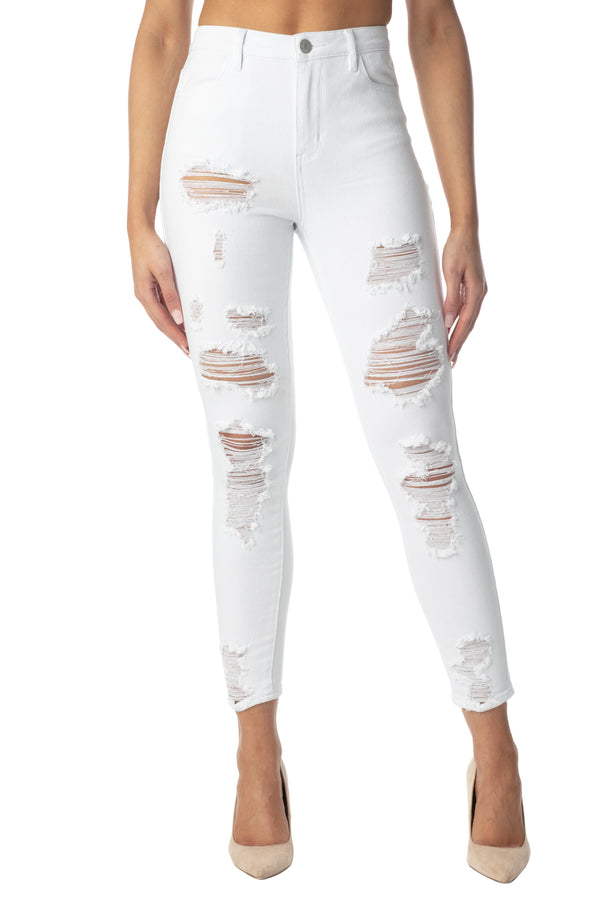 DESTRUCTED HIGH RISE SKINNY JEAN