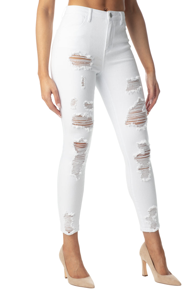 DESTRUCTED HIGH RISE SKINNY JEAN - Almost Famous Clothing