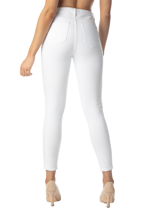 WHITE COLOR BACK SIDE DESTRUCTED HIGH RISE SKINNY JEAN - Almost Famous Clothing