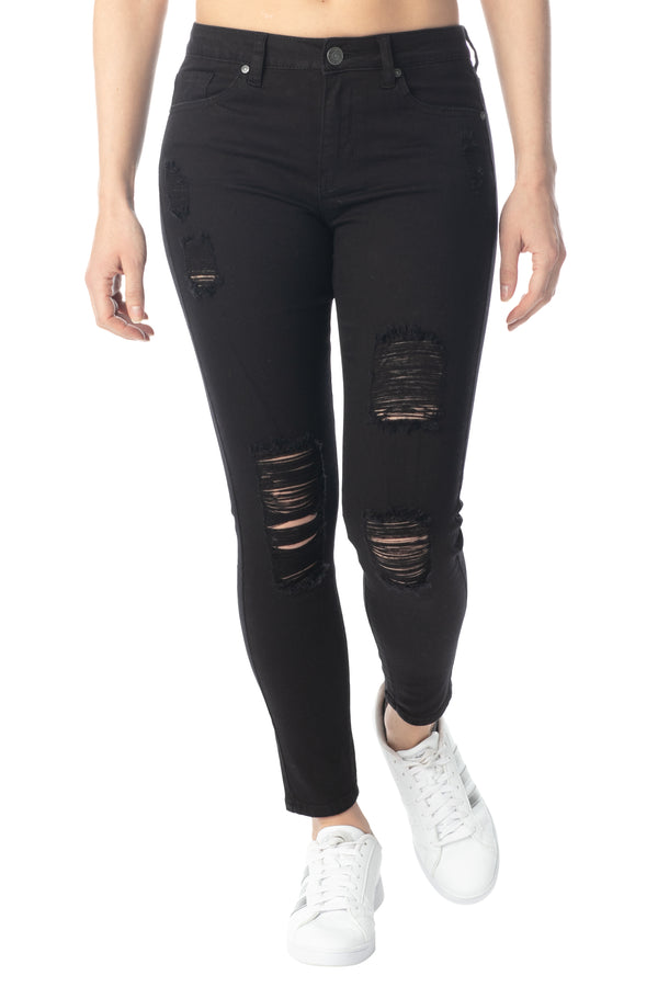 Black color Hi-Rise Skinny Fit Destructed Jean - Almost Famous Clothing