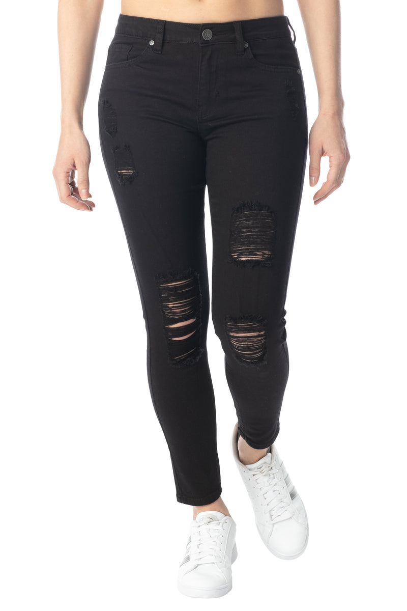 Hi-Rise Skinny Fit Destructed Jean - Almost Famous Clothing