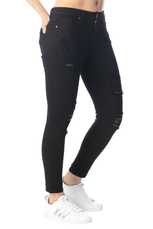 Side View Of Hi-Rise Skinny Fit Destructed Jean - Almost Famous Clothing