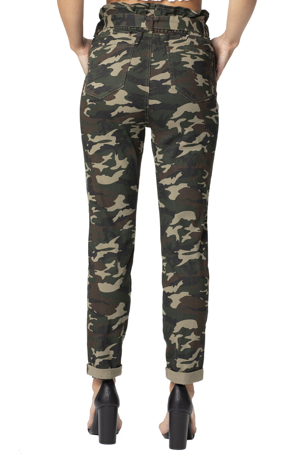 High Rise Belted Paper Bag Camo Print Jean