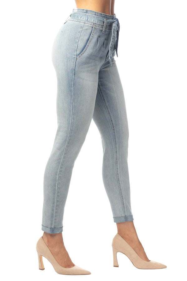 SKINNY HI RISE PLEATED TROUSER JEAN WITH BELT