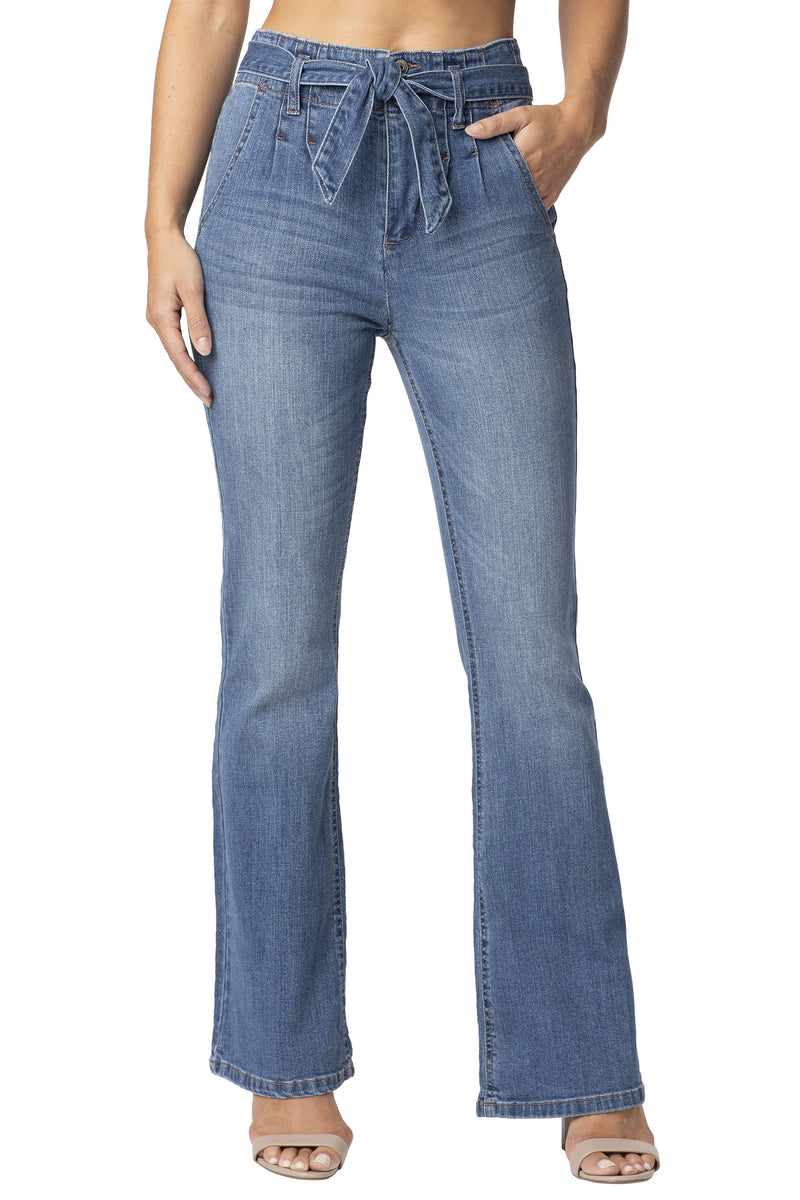 Belted Stretch Denim Flare Jean - Almost Famous Clothing