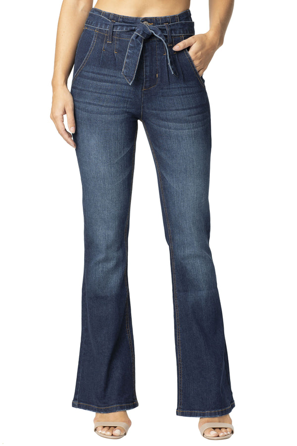 Belted Stretch Denim Flare Jean