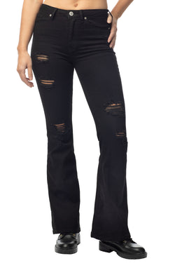 Juniors Denim Jeans Stretch High Rise Distressed Flare for Women - Almost Famous Clothing