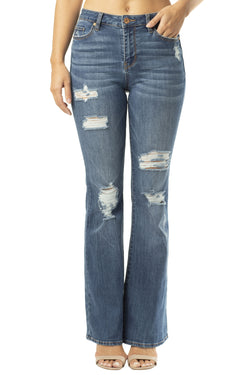 DESTRUCTED HI-RISE STRETCH DENIM FLARE JEAN