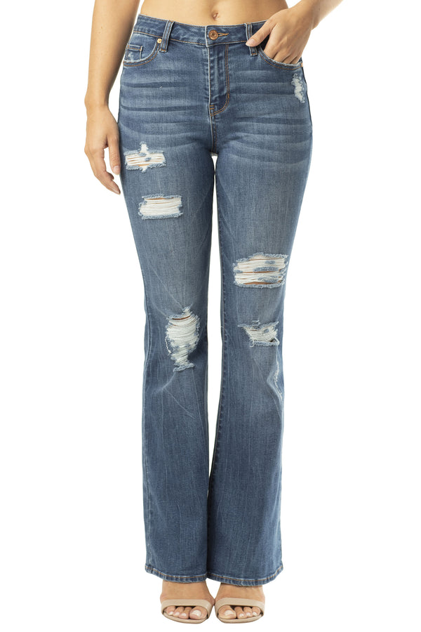 DESTRUCTED HI-RISE STRETCH DENIM FLARE JEAN - Almost Famous Clothing