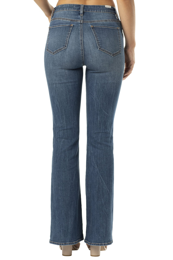 BACK SIDE OF DESTRUCTED HI-RISE STRETCH DENIM FLARE JEAN - Almost Famous Clothing