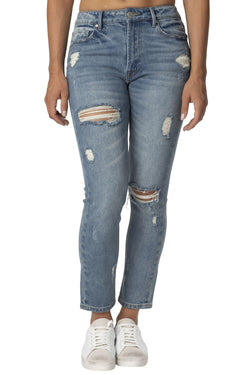 Destructed  Denim Hi-Rise Everyday Mom Jean