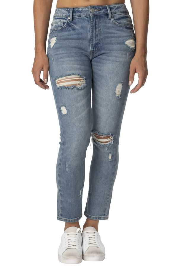 Destructed  Denim Hi-Rise Everyday Mom Jean - Almost Famous Clothing