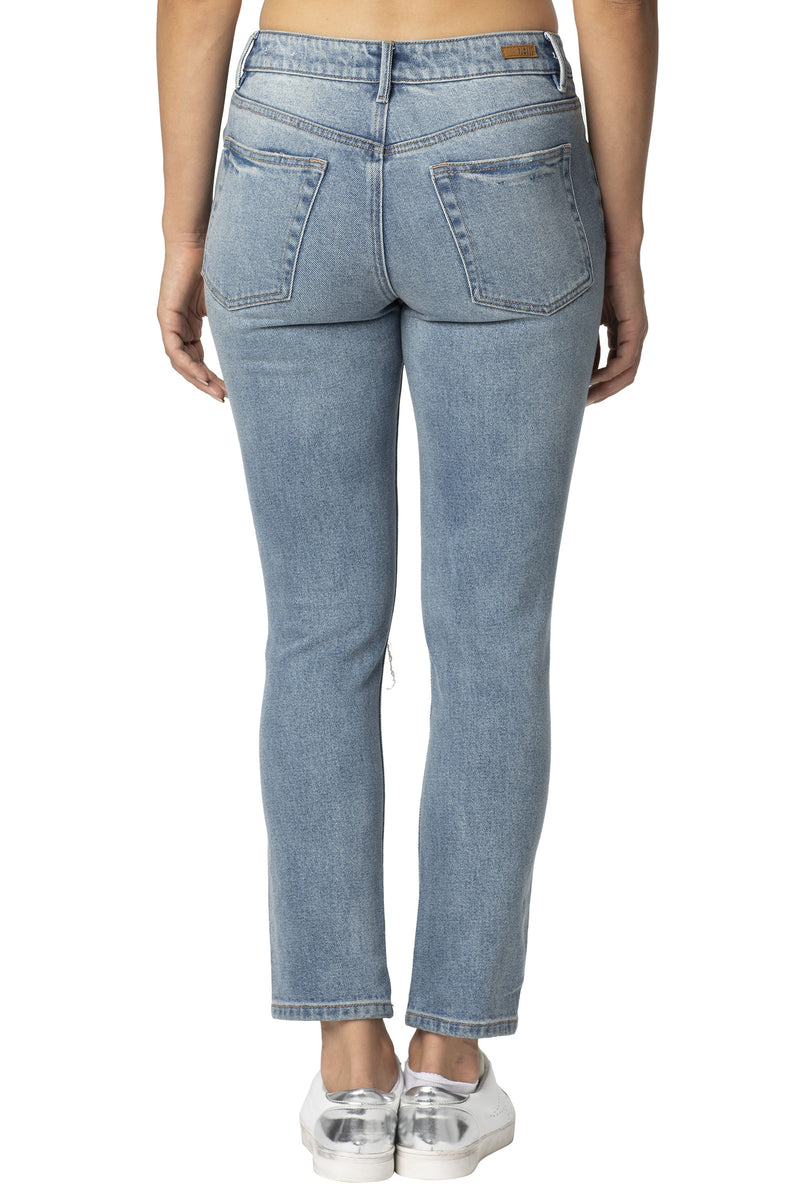 Back side of destructed  Denim Hi-Rise Everyday Mom Jean - Almost Famous Clothing